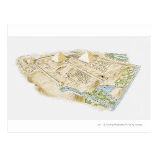 Cartão Postal Ilustração das pirâmides de Giza