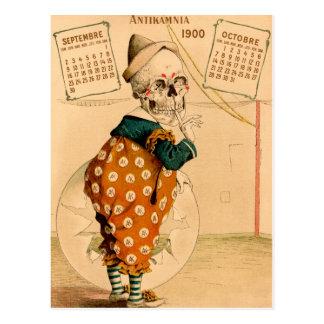 Cartão Postal Ilustração de esqueleto do vintage do palhaço