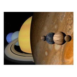 Cartão Postal Ilustração de nove planetas no sistema solar