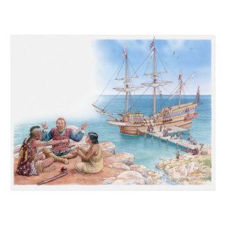 Cartão Postal Ilustração de Pocahontas e de seu pai