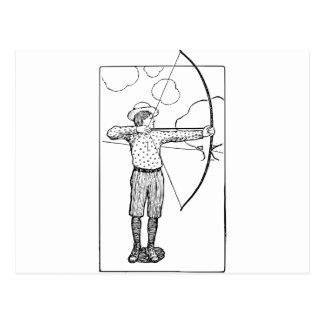 Cartão Postal Ilustração do arqueiro do menino