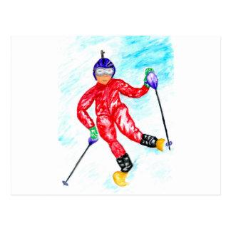 Cartão Postal Ilustração do esporte do esquiador