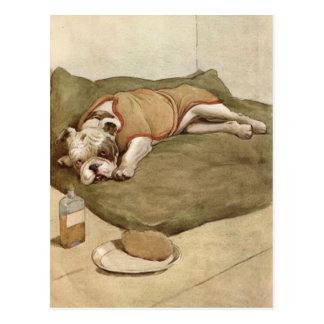 Cartão Postal Ilustração do filhote de cachorro do buldogue do