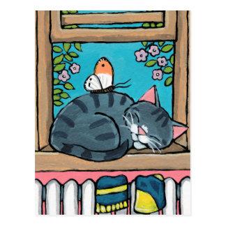 Cartão Postal Ilustração do gato e da borboleta de gato malhado