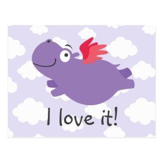 Cartão Postal Ilustração do hipopótamo do vôo