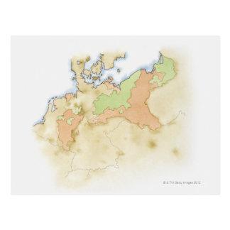 Cartão Postal Ilustração do mapa de Alemanha