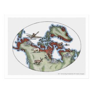 Cartão Postal Ilustração do território do Inuit