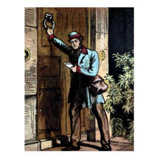 """Cartão Postal """"Ilustração do vintage do carteiro"""""""