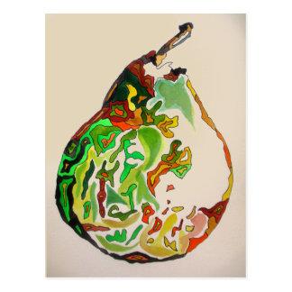 Cartão Postal Ilustração do watercolour da fruta da pera