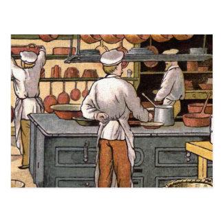 Cartão Postal Ilustração francesa da cozinha do vintage