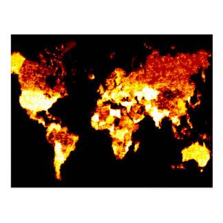 Cartão Postal Ilustração impetuosa do mapa do mundo
