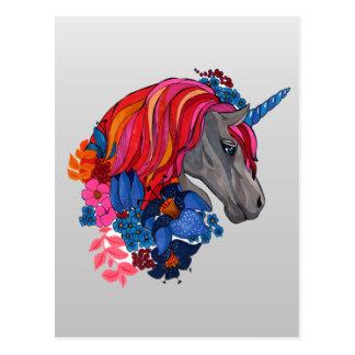 Cartão Postal Ilustração mágica violeta bonito da fantasia do