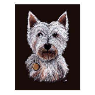 Cartão Postal Ilustração ocidental do Pastel do cão de Terrier