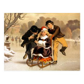 Cartão Postal Ilustração Sledding e de patinagem do vintage
