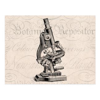 Cartão Postal Ilustração Steampunk retro do microscópio do