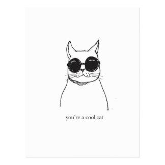 """Cartão Postal Ilustração tirada mão """"você é um gato legal """""""