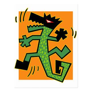 Cartão Postal Ilustração verde do crocodilo