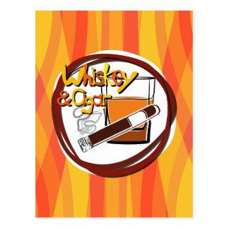 Cartão Postal Ilustração Wiskey e charuto
