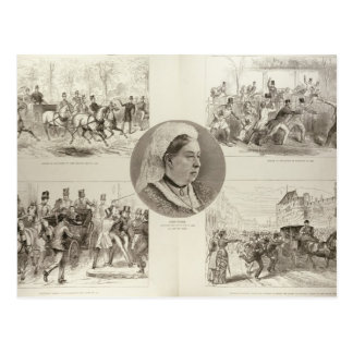 Cartão Postal Ilustrações dos ataques na rainha Victoria