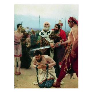 Cartão Postal Ilya Repin- São Nicolau salvar três Innocents