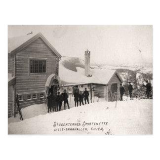 Cartão Postal Imagem do esqui do vintage, centro de esportes do