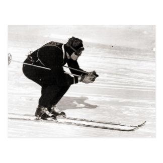 Cartão Postal Imagem do esqui do vintage, raça para o