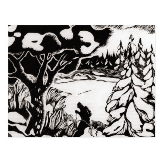 Cartão Postal Imagem do esqui do vintage, woodcut da cena da