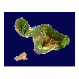Cartão Postal Imagem do satélite de Landsat de Maui do espaço