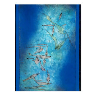 Cartão Postal Imagem dos peixes de Paul Klee-