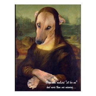 Cartão Postal Imagem engraçada de Meme do cão de Mona Lisa