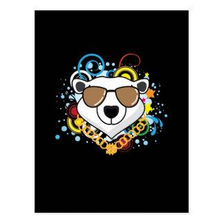 Cartão Postal Imagem engraçada do urso polar do hip-hop