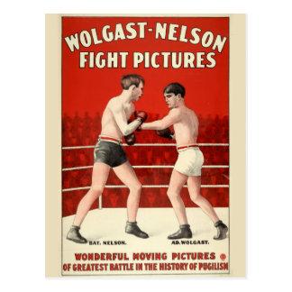 Cartão Postal Imagens da luta de Wolgast-Nelson - poster