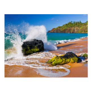 Cartão Postal Impacto na praia, Havaí das ondas