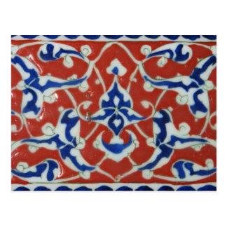 Cartão Postal Império otomano vermelho do azulejo do turco de