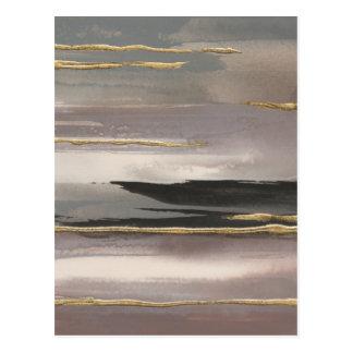 Cartão Postal Impressão abstrato dourado do ouro da névoa II da