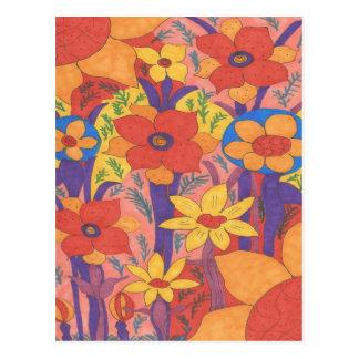 Cartão Postal Impressão alaranjado boémio corajoso do jardim