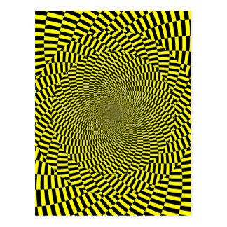 Cartão Postal Impressão amarelo preto da espiral do teste padrão