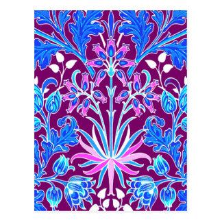 Cartão Postal Impressão, Aqua e roxo do jacinto de William