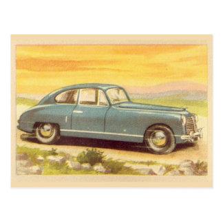 Cartão Postal Impressão azul do carro do vintage
