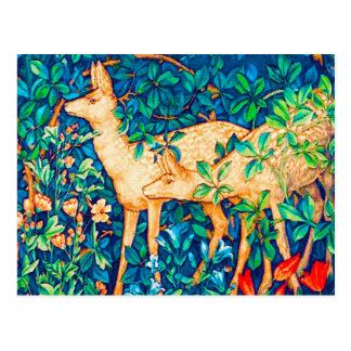 Cartão Postal Impressão da tapeçaria dos cervos da floresta de