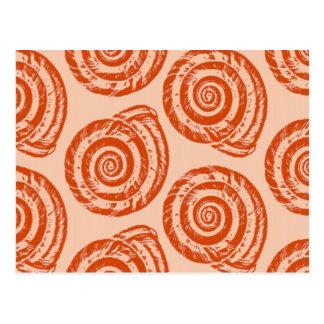 Cartão Postal Impressão de bloco espiral do Seashell, laranja
