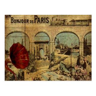 Cartão Postal Impressão de Paris do vintage