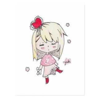 Cartão Postal Impressão do dia dos namorados da menina doente do