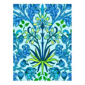 Cartão Postal Impressão do jacinto de William Morris, azul
