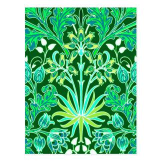 Cartão Postal Impressão do jacinto de William Morris, verde