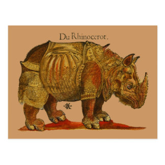 Cartão Postal Impressão do Woodcut do rinoceronte do vintage - o