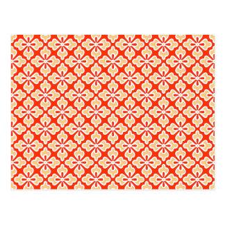 Cartão Postal Impressão floral do quimono, pêssego e tanjerina
