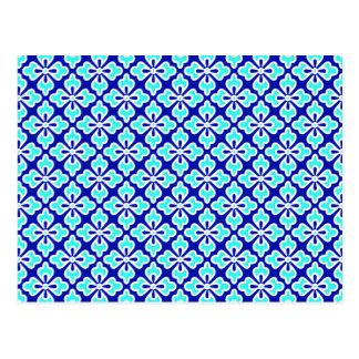 Cartão Postal Impressão floral, turquesa e azuis cobaltos do