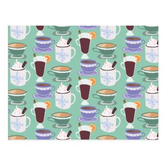 Cartão Postal Impressão invernal morno das bebidas