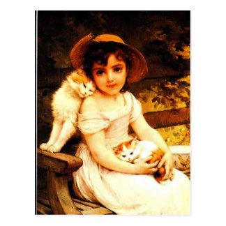 """Cartão Postal Impressão """"menina da arte do vintage com gatinhos"""""""